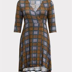 Torrid 2X 4X Dress Outlander Plaid Wrap Hi Lo Knit